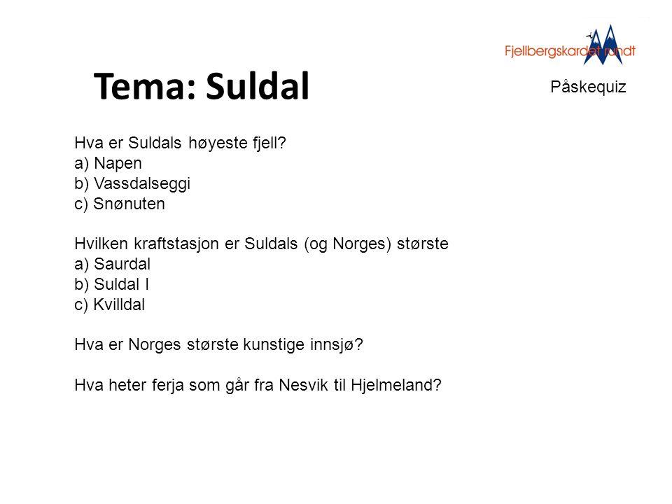 Tema: Suldal Påskequiz