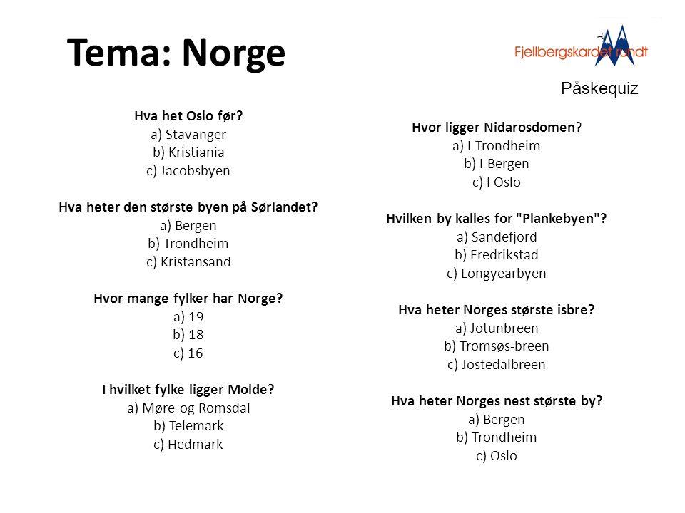 Tema: Norge Påskequiz.