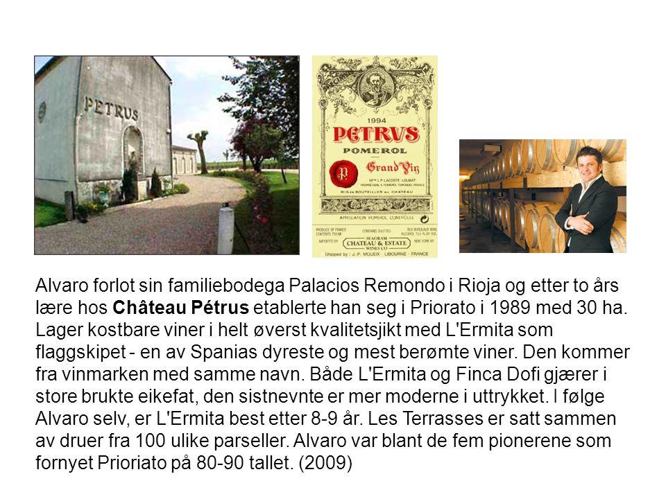Alvaro forlot sin familiebodega Palacios Remondo i Rioja og etter to års lære hos Château Pétrus etablerte han seg i Priorato i 1989 med 30 ha.