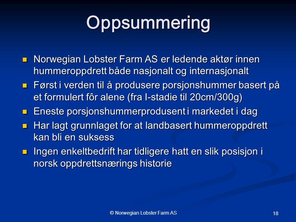 Oppsummering Norwegian Lobster Farm AS er ledende aktør innen hummeroppdrett både nasjonalt og internasjonalt.