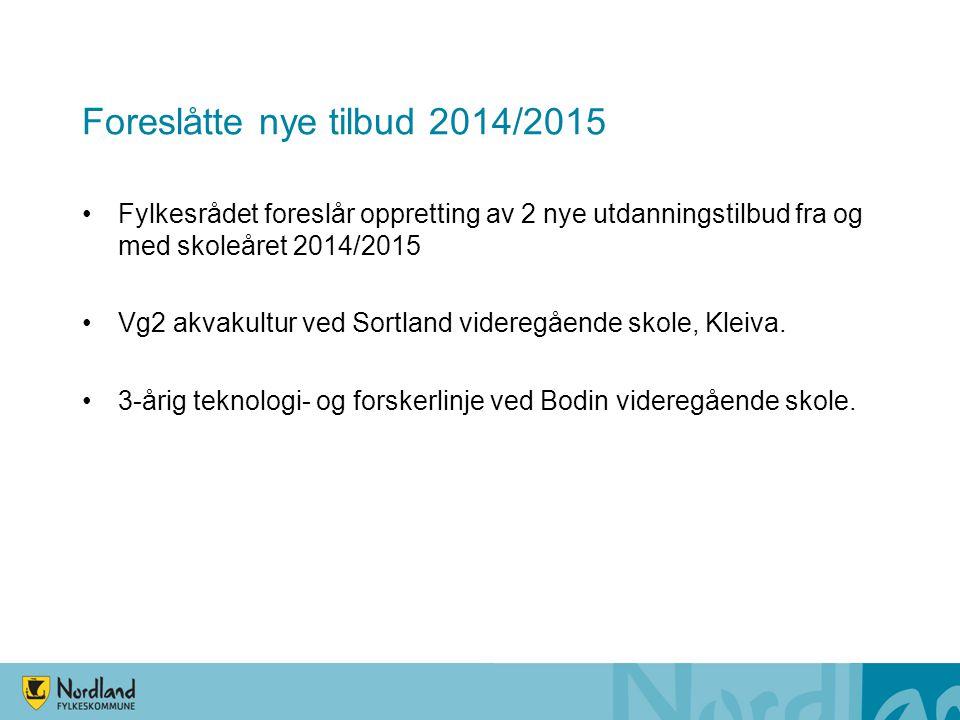 Foreslåtte nye tilbud 2014/2015