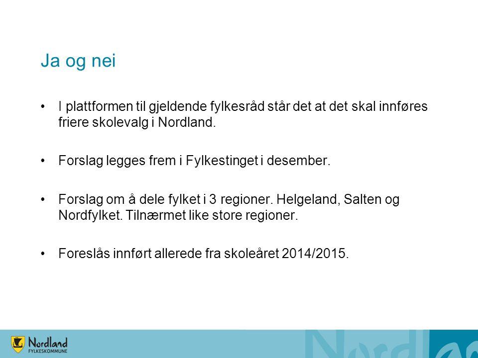Ja og nei I plattformen til gjeldende fylkesråd står det at det skal innføres friere skolevalg i Nordland.