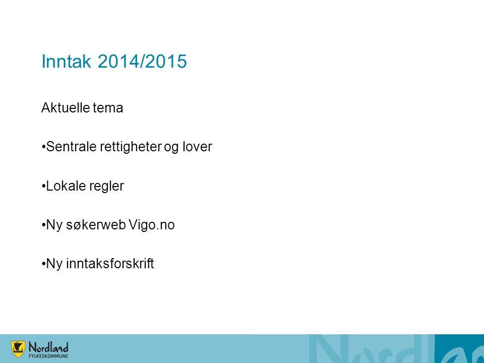 Inntak 2014/2015 Aktuelle tema Sentrale rettigheter og lover