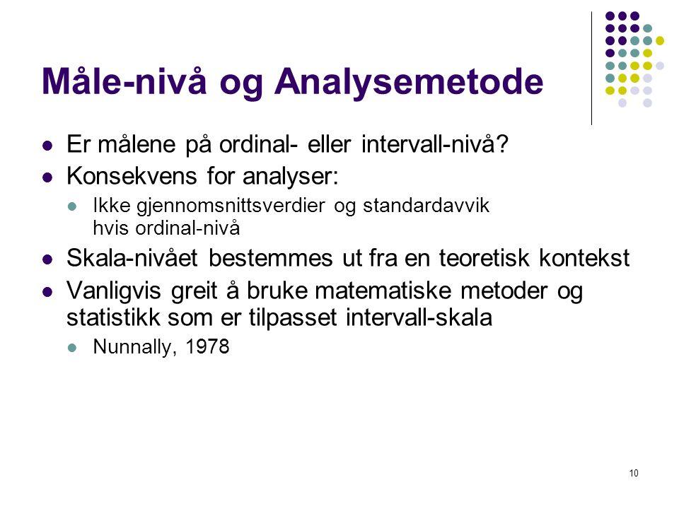 Måle-nivå og Analysemetode