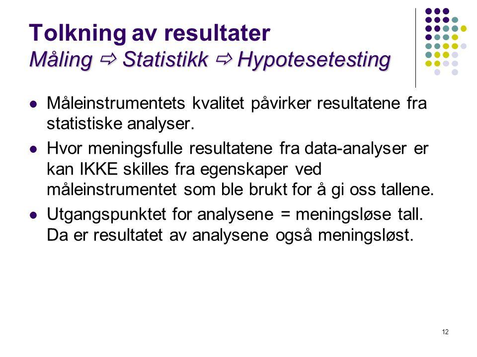 Tolkning av resultater Måling  Statistikk  Hypotesetesting