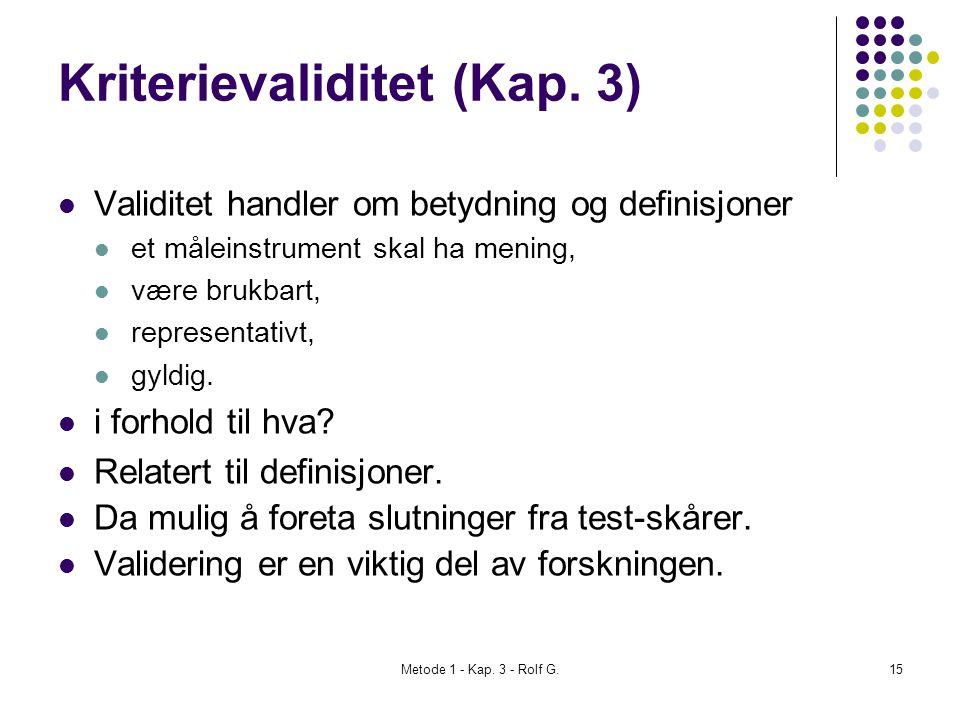 Kriterievaliditet (Kap. 3)
