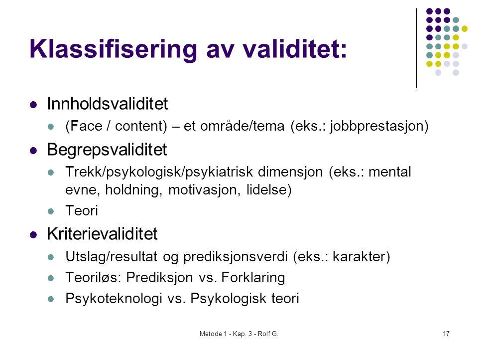 Klassifisering av validitet: