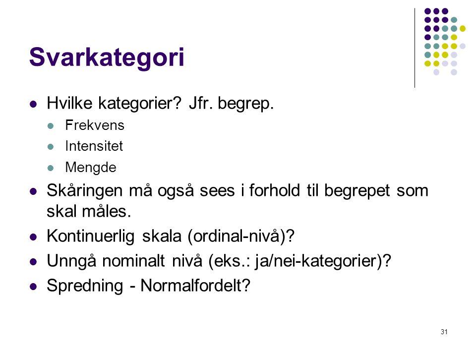Svarkategori Hvilke kategorier Jfr. begrep.