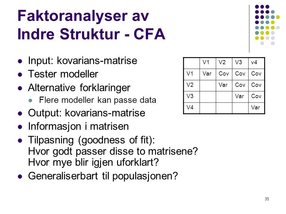 Faktoranalyser av Indre Struktur - CFA