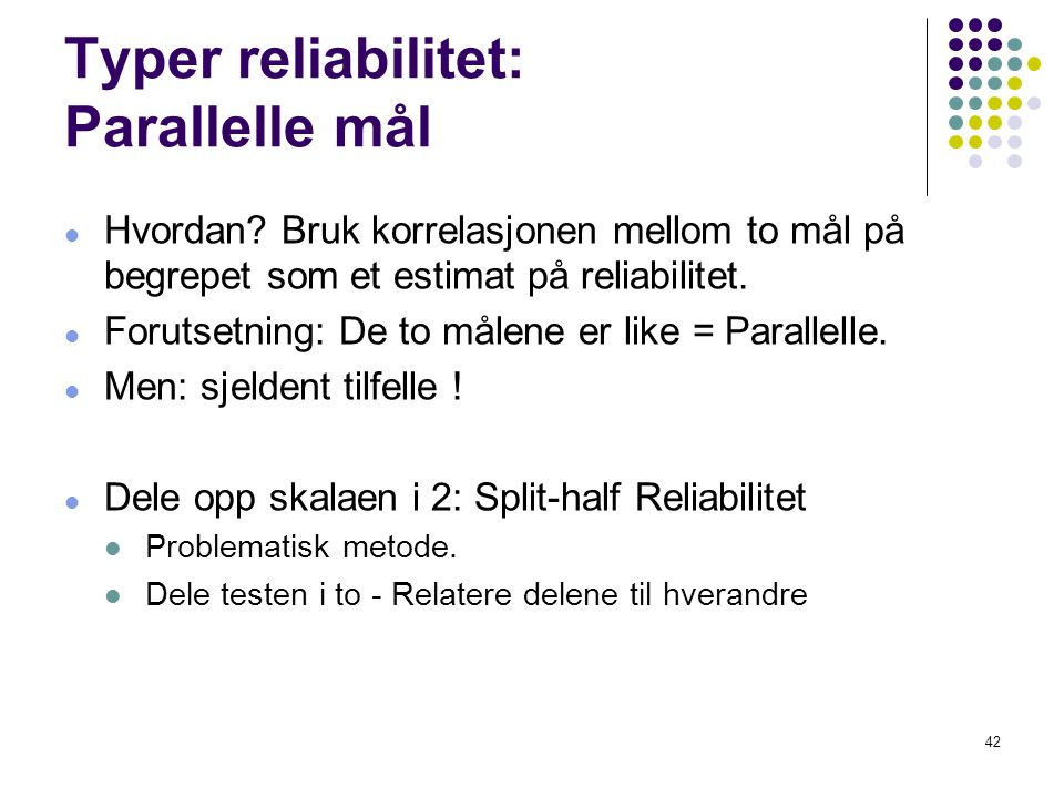 Typer reliabilitet: Parallelle mål