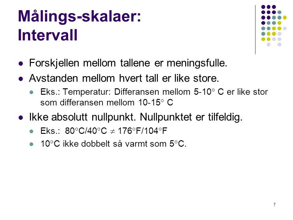 Målings-skalaer: Intervall