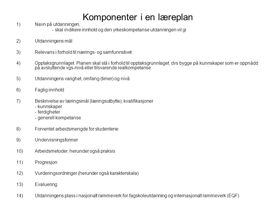 Komponenter i en læreplan