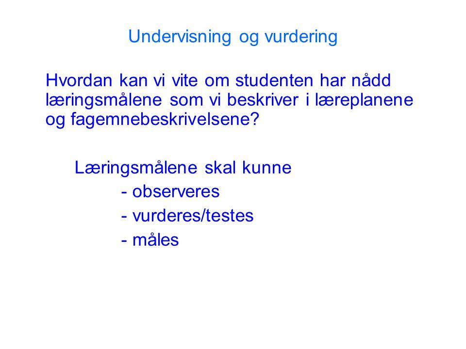 Undervisning og vurdering