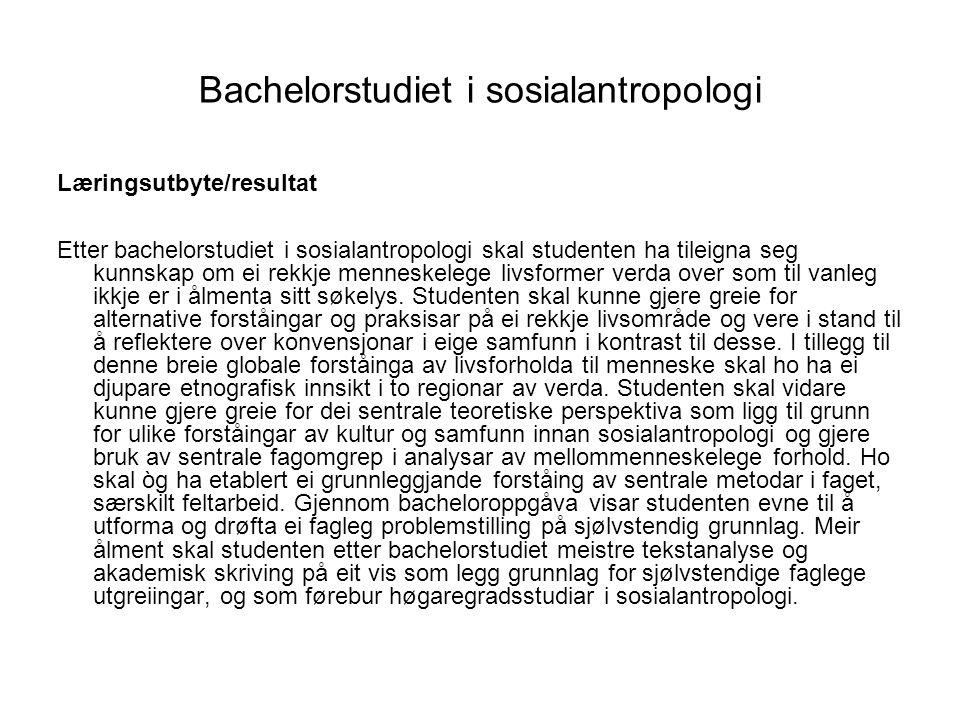 Bachelorstudiet i sosialantropologi
