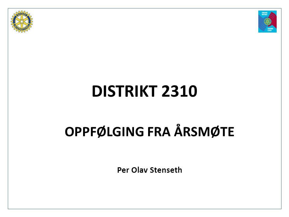 OPPFØLGING FRA ÅRSMØTE Per Olav Stenseth