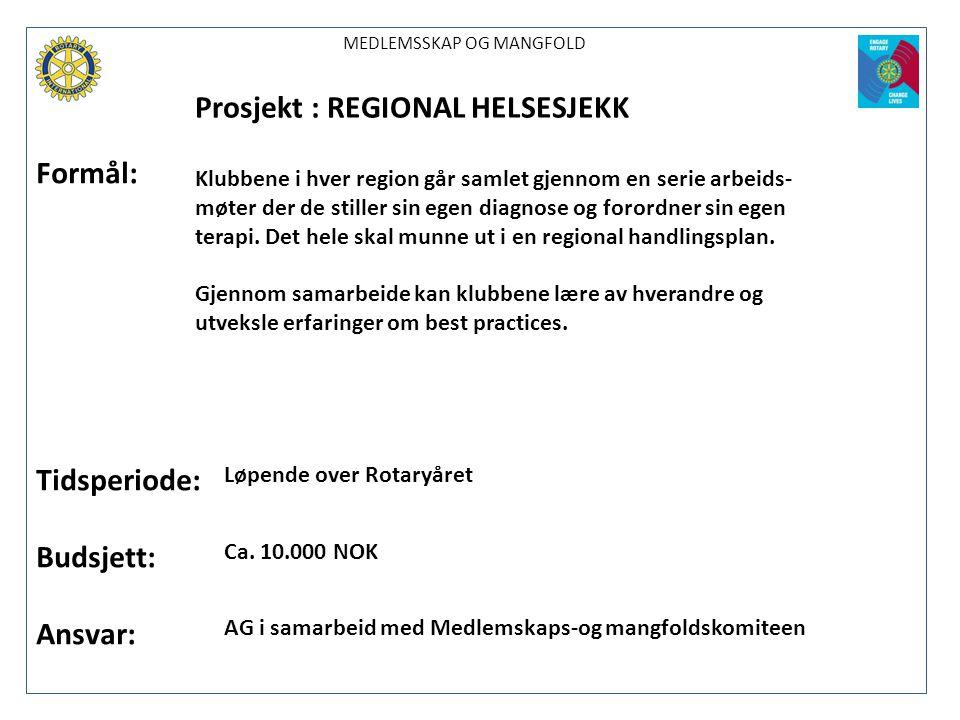 Prosjekt : REGIONAL HELSESJEKK