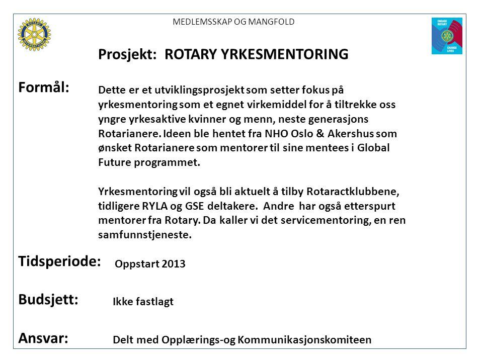 Prosjekt: ROTARY YRKESMENTORING