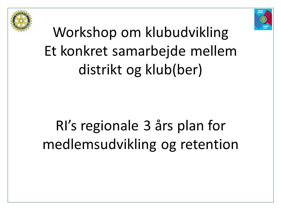 Workshop om klubudvikling Et konkret samarbejde mellem distrikt og klub(ber) RI's regionale 3 års plan for medlemsudvikling og retention