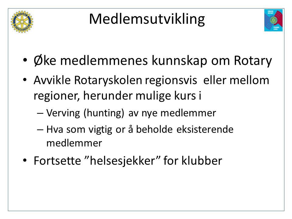 Medlemsutvikling Øke medlemmenes kunnskap om Rotary
