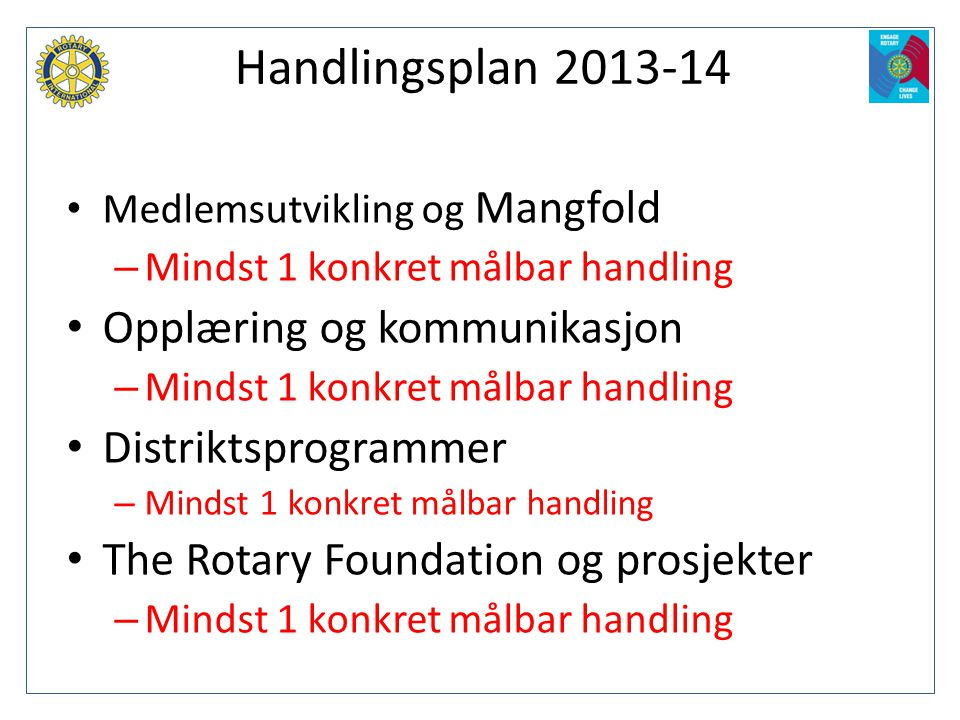 Handlingsplan 2013-14 Opplæring og kommunikasjon Distriktsprogrammer