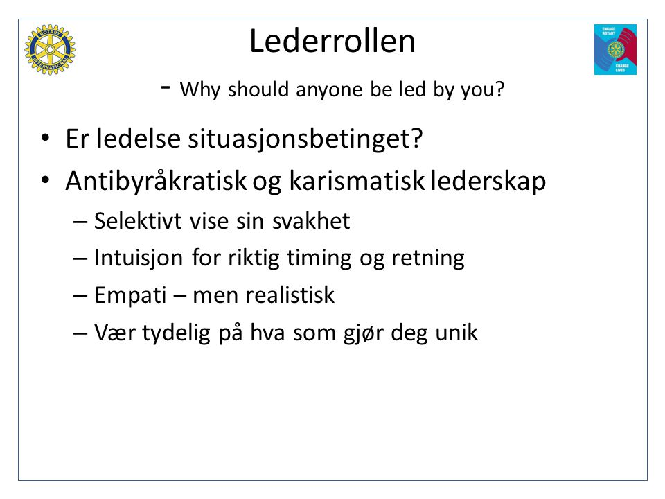 Lederrollen - Why should anyone be led by you