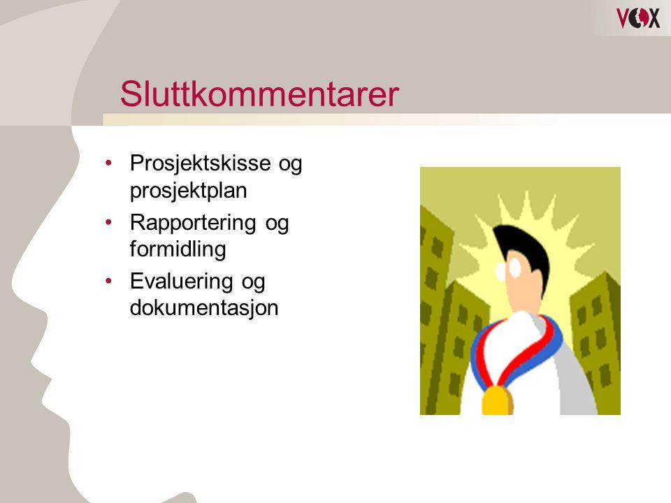 Sluttkommentarer Prosjektskisse og prosjektplan