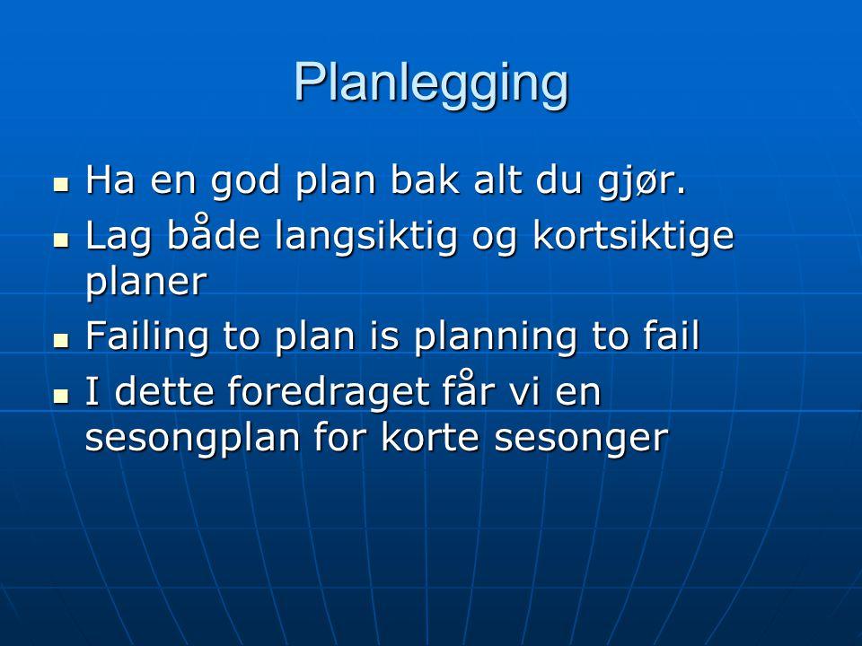 Planlegging Ha en god plan bak alt du gjør.