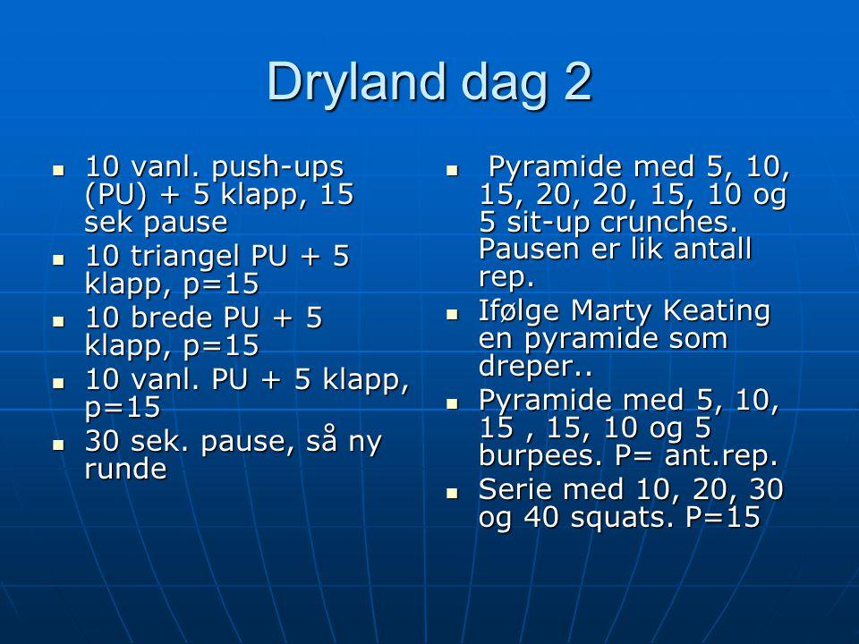 Dryland dag 2 10 vanl. push-ups (PU) + 5 klapp, 15 sek pause