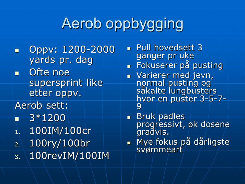 Aerob oppbygging Oppv: 1200-2000 yards pr. dag