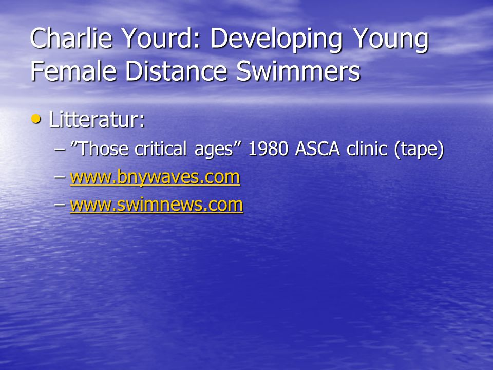 Charlie Yourd: Developing Young Female Distance Swimmers