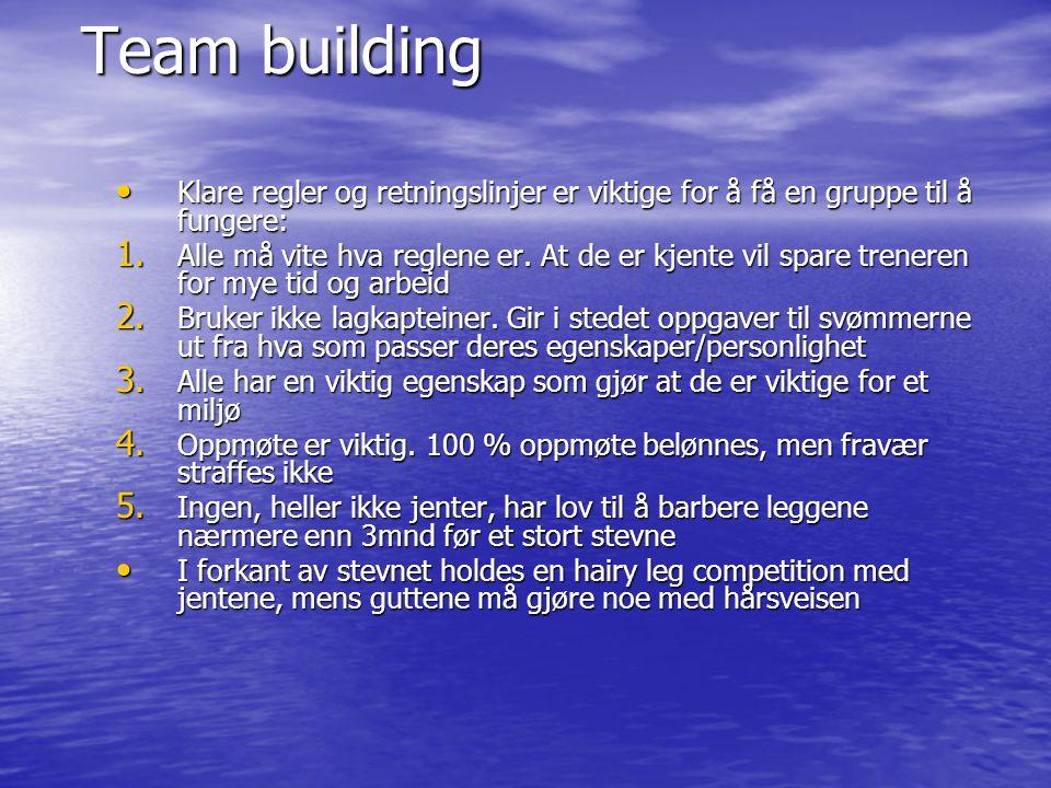 Team building Klare regler og retningslinjer er viktige for å få en gruppe til å fungere: