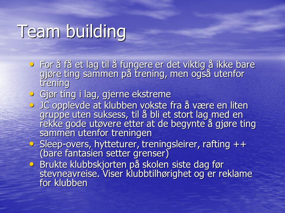 Team building For å få et lag til å fungere er det viktig å ikke bare gjøre ting sammen på trening, men også utenfor trening.