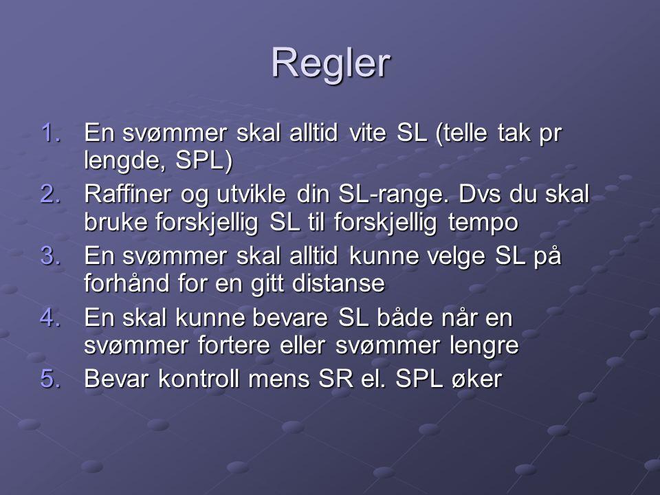 Regler En svømmer skal alltid vite SL (telle tak pr lengde, SPL)