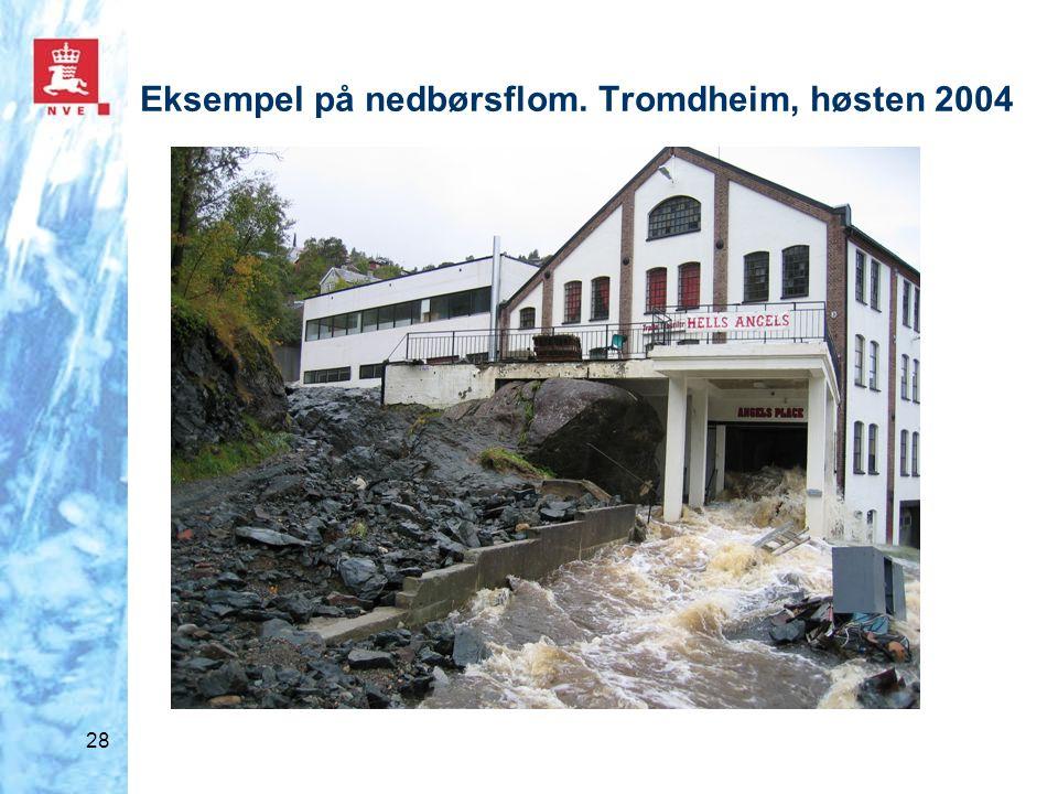 Eksempel på nedbørsflom. Tromdheim, høsten 2004