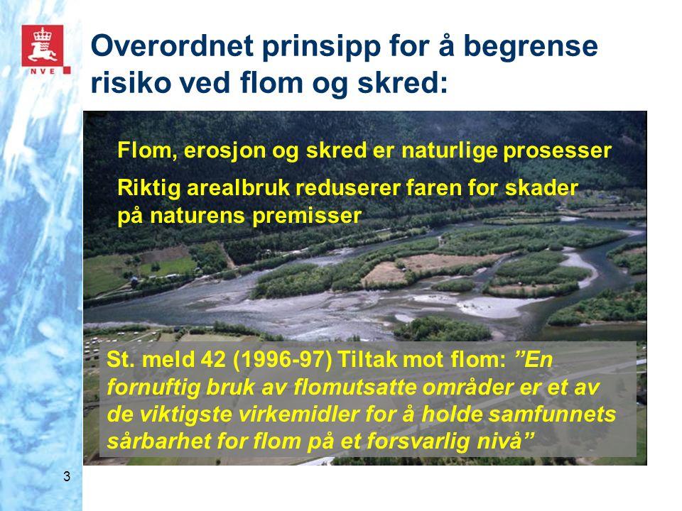 Overordnet prinsipp for å begrense risiko ved flom og skred: