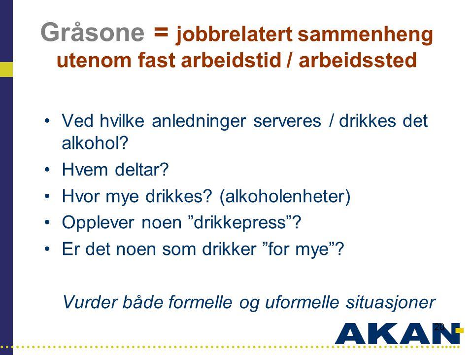 Gråsone = jobbrelatert sammenheng utenom fast arbeidstid / arbeidssted