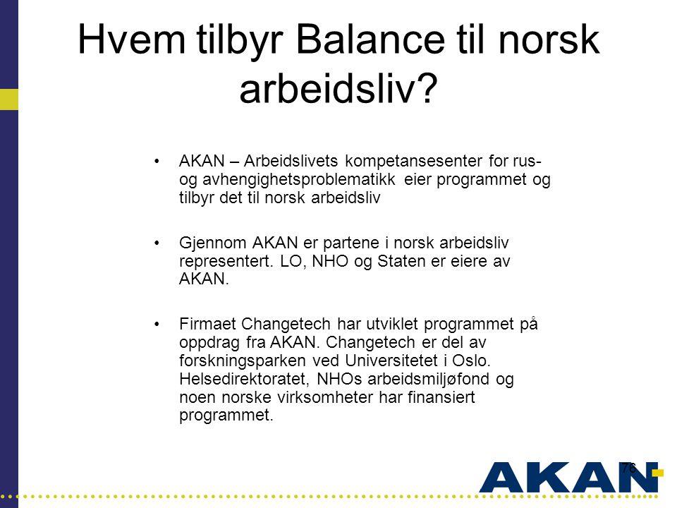 Hvem tilbyr Balance til norsk arbeidsliv