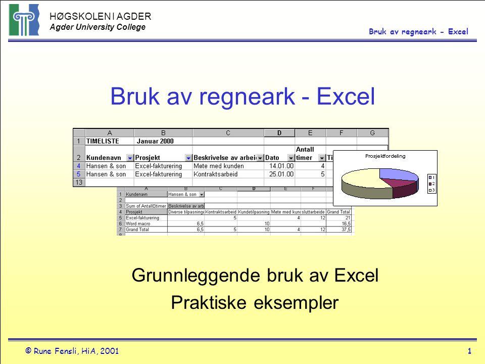 Bruk av regneark - Excel