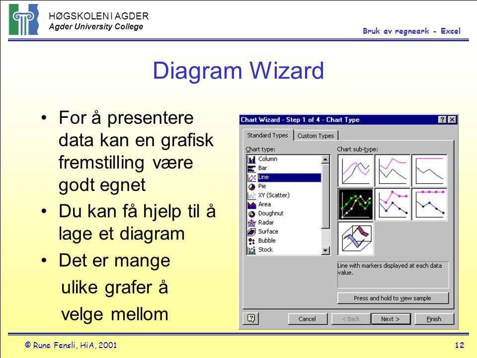 Diagram Wizard For å presentere data kan en grafisk fremstilling være godt egnet. Du kan få hjelp til å lage et diagram.