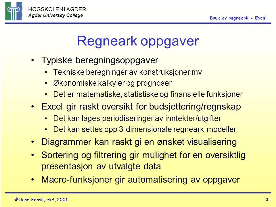 Regneark oppgaver Typiske beregningsoppgaver