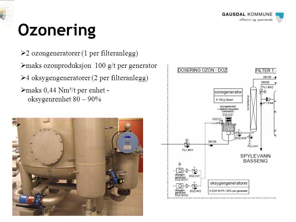 Ozonering 2 ozongeneratorer (1 per filteranlegg)