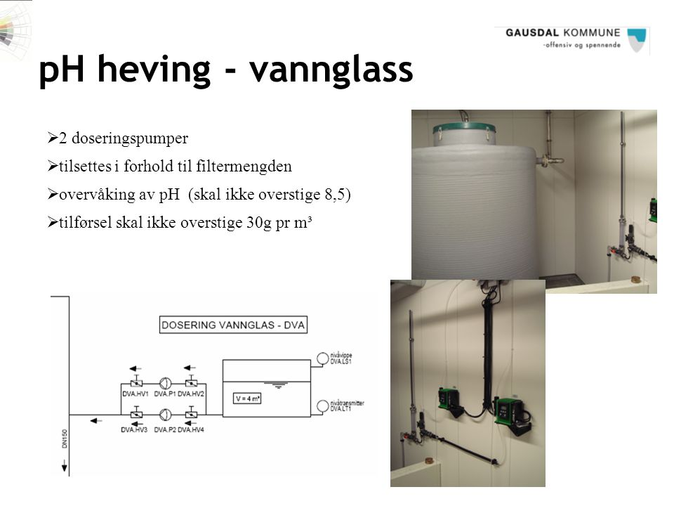 pH heving - vannglass 2 doseringspumper