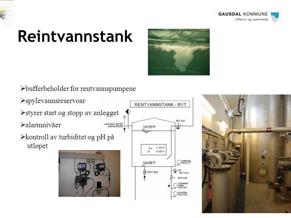 Reintvannstank bufferbeholder for rentvannspumpene spylevannsreservoar