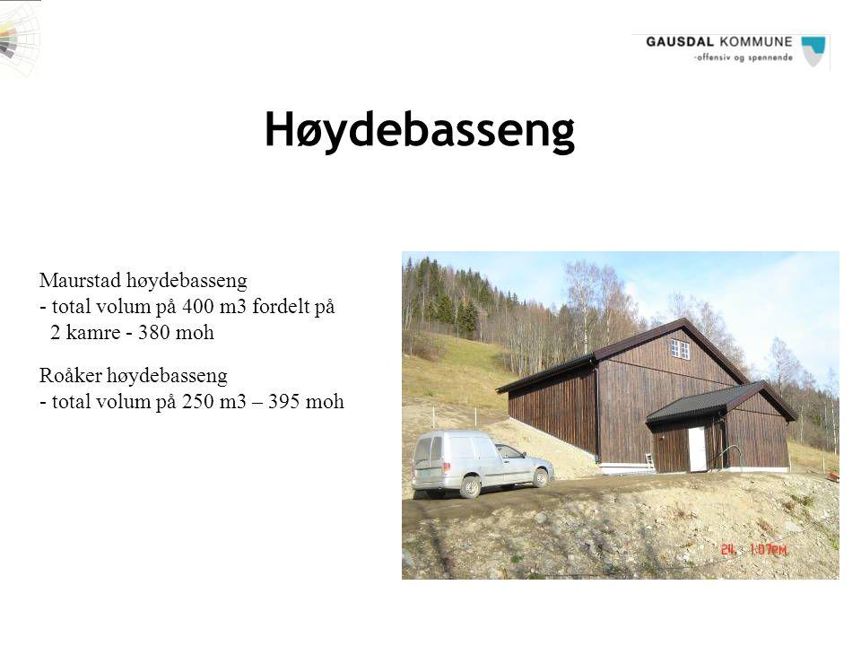Høydebasseng Maurstad høydebasseng - total volum på 400 m3 fordelt på