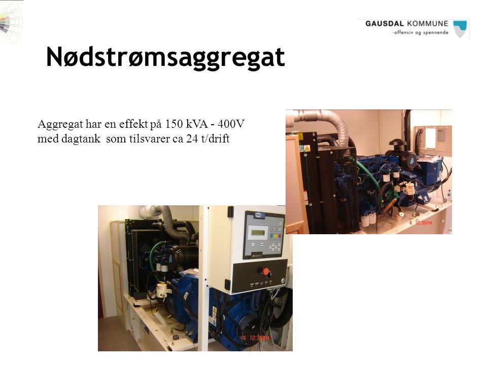 Nødstrømsaggregat Aggregat har en effekt på 150 kVA - 400V