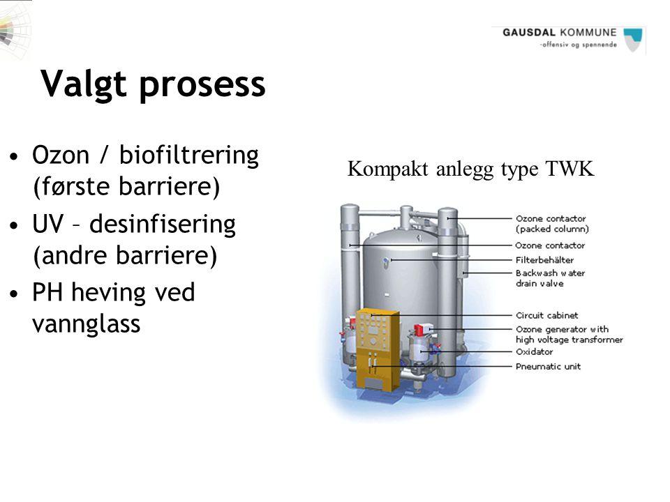 Valgt prosess Ozon / biofiltrering (første barriere)