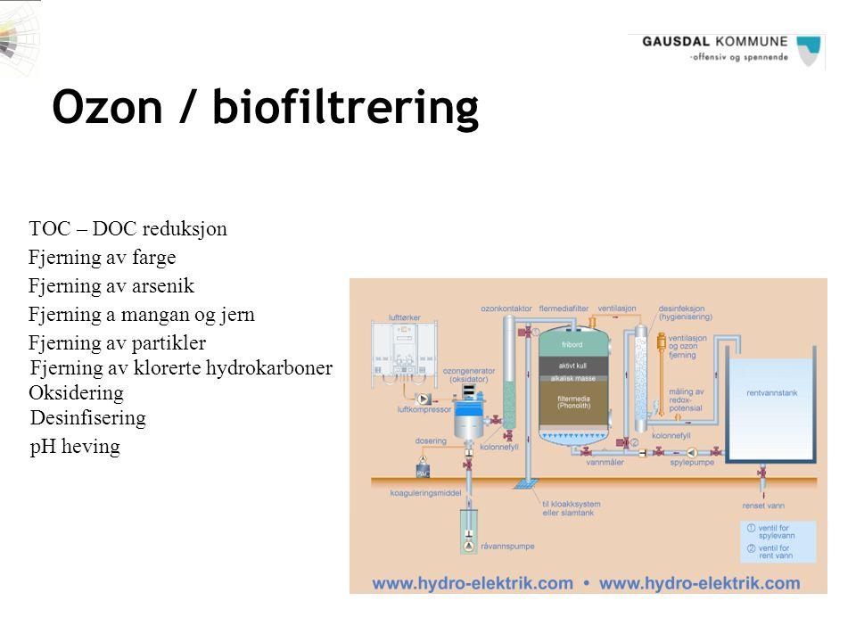 Ozon / biofiltrering TOC – DOC reduksjon Fjerning av farge