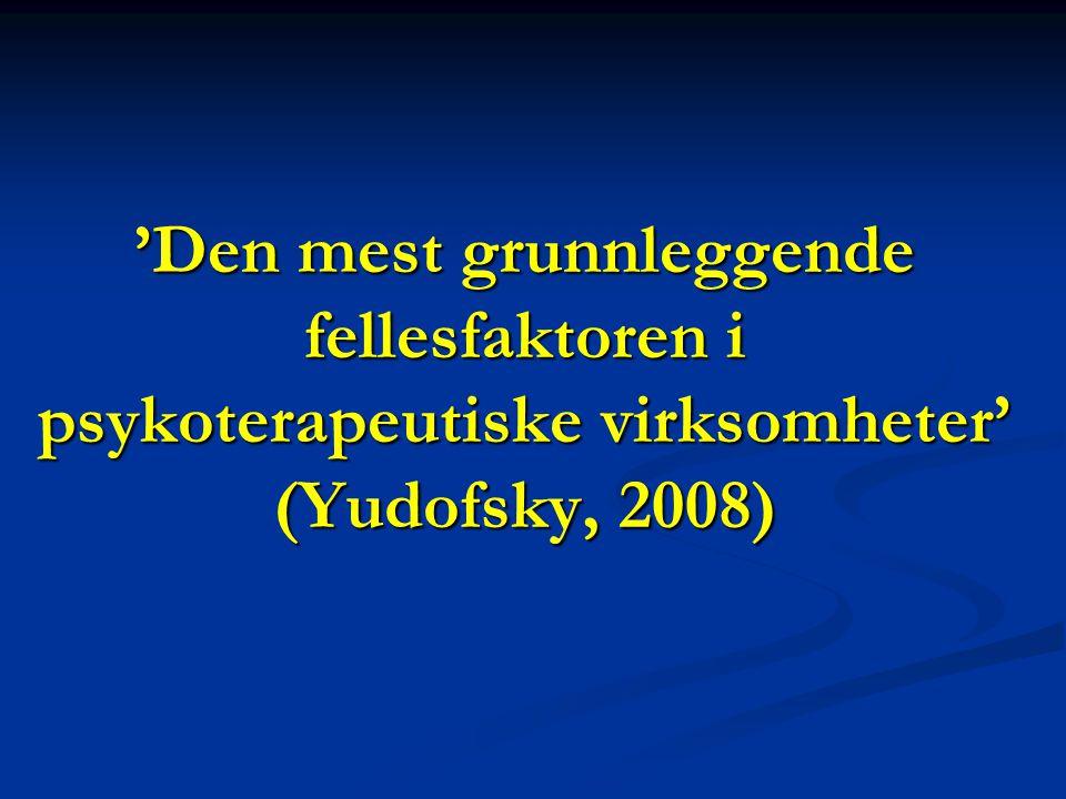 'Den mest grunnleggende fellesfaktoren i psykoterapeutiske virksomheter' (Yudofsky, 2008)