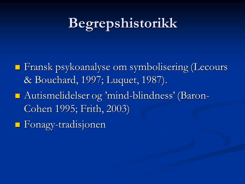 Begrepshistorikk Fransk psykoanalyse om symbolisering (Lecours & Bouchard, 1997; Luquet, 1987).