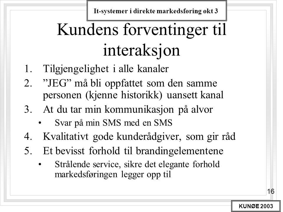 Kundens forventinger til interaksjon